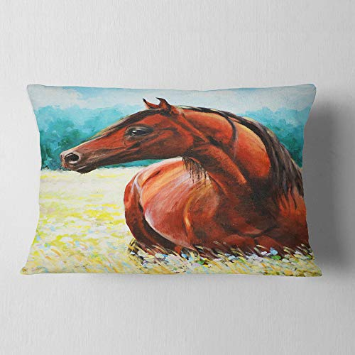 Designart CU13315-12-20 Brown Arabian Horse Painting' Abstract Throw Lumbar Cushion Pillow Cover for Living Room, Sofa, 12 in. x 20 in, Pillow Insert + Cushion Cover Printed on Both Side by Designart