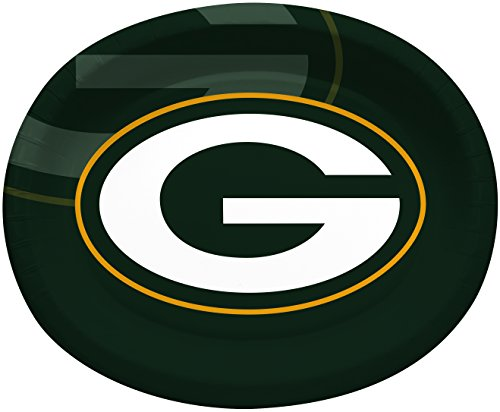 Creative Converting Officially Licensed NFL Oval Paper Platters, 8-Count, Green Bay Packers -