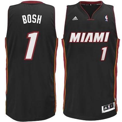 0298dd0dcd99 Amazon.com   Mens Miami Heat Chris Bosh adidas Black Swingman Road Jersey    Sports   Outdoors