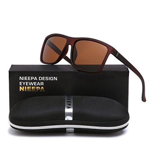 NIEEPA Men's Driving Sports Polarized Sunglasses Square Wayfarer Plastic Frame Glasses (Brown Lens/Brown - For Men Sunglasses Brown