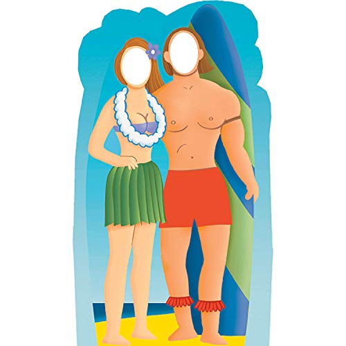 Fun Express - Surf Board Couple StanD-In Standup - Party Decor - Large Decor - Floor Stand Ups - 1 Piece