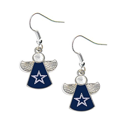 Sports Team Dallas Cowboys Logo Crystal Angel Wings Dangle Earring Set ()