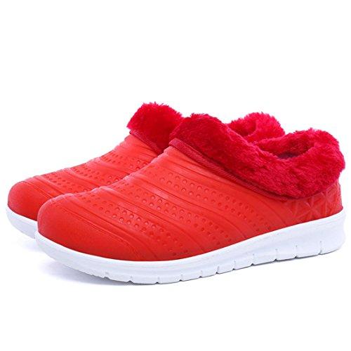 O & N Donne Antiscivolo Eco-pelliccia Caldo Scarpe Piatte Scarpe Da Neve Impermeabile Per Interni Allaperto Rosso