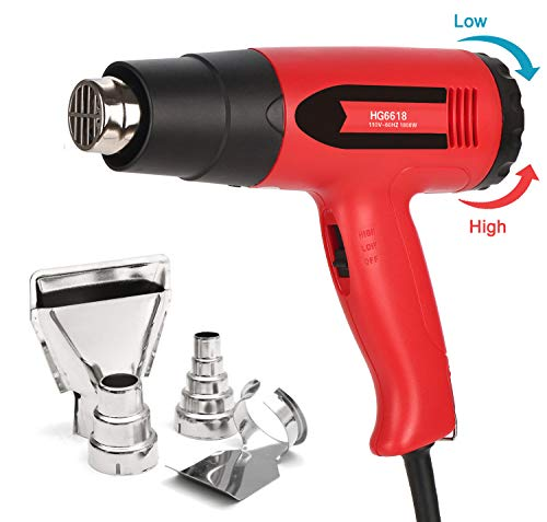 mperature, Amtake Professional Hot Air Gun 120°F - 1020°F (50℃~550℃) with 2 Fan Speed, 4 Nozzle Attachments for Crafts, Heat shrink tubing, Stripping Paint (Variable Temperature Electronic Heat Gun)