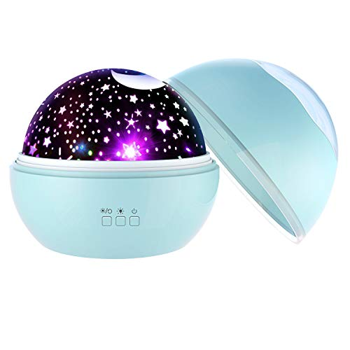 WIKi Star Night Light Projector for Kids, Toys Gifts for 2-10 Year Old Boys Halloween Girls Stocking Stuffer Romantic Projector Lamp for Kids Birthday Present 2019 Christmas New Gifts Blue WKUSXKD02