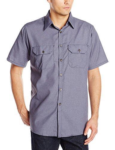 Red Kap Men's Heathered Poplin UniformShirt, Navy, Short Sleeve X-Large (Short Poplin Uniform Sleeve)