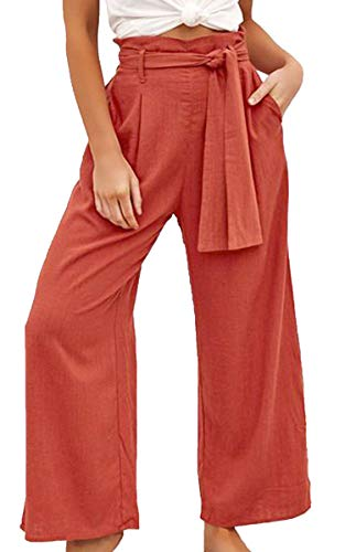 ECOWISH Womens Cotton Soft Palazzo Wide Leg Pant with Pockets High Waist Casual Loose Flowy Pants with Belt Orange M