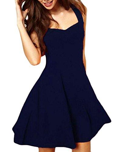 Grande Vogue Des Femmes De Soie Slim Fit Manches Taille Haute Club V-cou Mini Bleu Marine Robe
