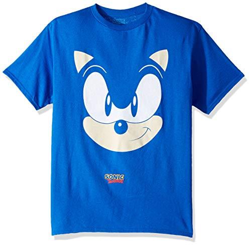 SEGA Boys Sonic The Hedgehog Big Face Short Sleeve Tshirt, Royal, S-8