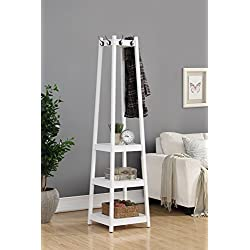 Roundhill Furniture Vassen Coat Rack with 3-Tier Storage Shelves, white Finish
