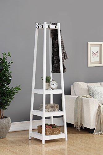 Roundhill Furniture Vassen Coat Rack with 3-Tier Storage Shelves, White Finish (Coat Trees)