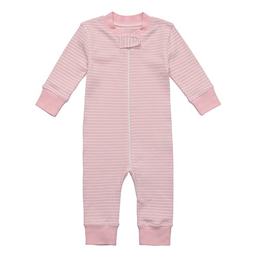on Baby Boy Girl Zip up Sleep N Play, Footless, Long Sleeve (Size 0-18 Month) (6-12 Months, Pink Stripe) (Footless One Piece)