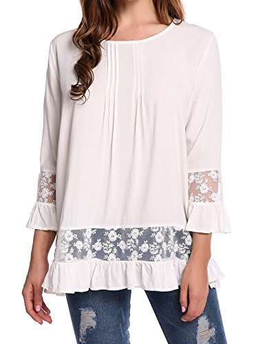 SoTeer Women Casual Boho Lace O-Neck 3/4 Sleeves Shirt Blouse Top (10 Colors S-XXL)