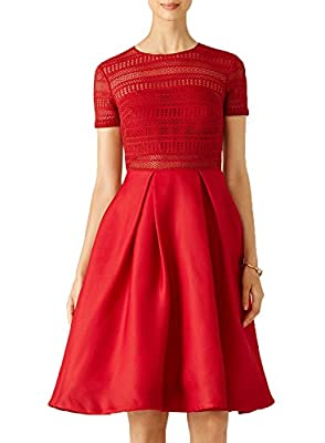 WOOSEA Women's Vintage Floral Lace Bridesmaid Cocktail Party Swing Dress