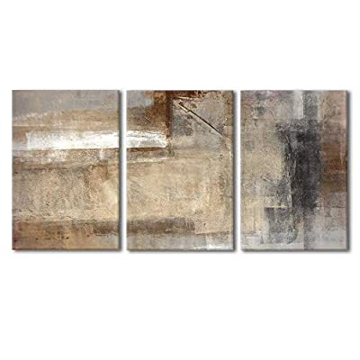 Magnificent Object of Art, Made With Love, Brown and Beige Painting Wall Decor x3 Panels
