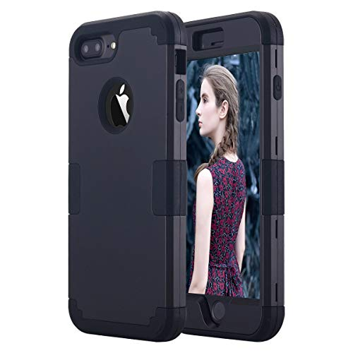 Petocase Compatible iPhone 8 Plus Case, Heavy Duty Slim Shockproof Drop Protection 3 in 1 Hybrid Hard PC Covers Soft Rubber Bumper Protective Case for iPhone 8 Plus / 7 Plus - Black
