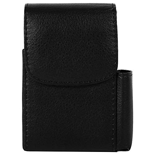(Zerodis PU Leather Cigarette Box Anti-Scratch Protective Storage Case with Lighter Holder for Cigarette Lighter Name Card(Black))