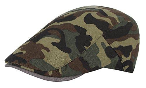 GEMVIE Men Camouflage Newsboy Hat Beret Ivy Cap Flat Gatsby Cap Lightweight Driving Hats