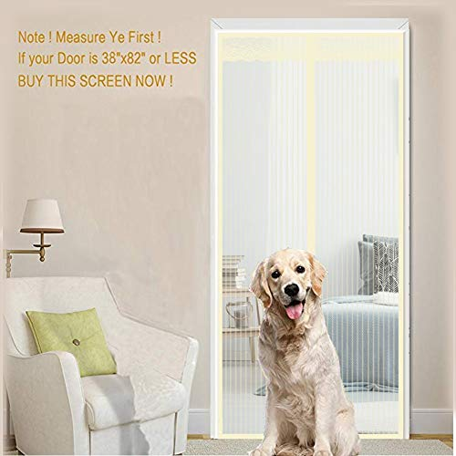 Magnetic Screen Door, Mesh Door Curtain for Sliding Glass Door,Hands Free, Keeping Flies,Mosquito Out and Let Fresh Air In, Customizable Magnetic Screen Door,Yellow,80x220cm(31x87inch)