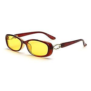 LOMOL Womens Fashion Cute Oval Anti-Blue Light Radiation Protection Night Vision Small Driving Sunglasses(C4)