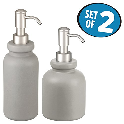 Gray Lotion (mDesign Soap Pump Bathroom Accessory Set for Vanity Countertop, Cabinet - Set of 2, Cloudburst)