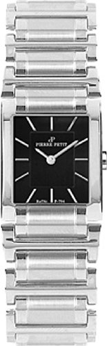 Pierre Petit Women's P-794A Serie Laval Square Case Black Dial Stainless-Steel Bracelet Watch