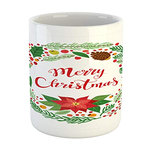Lunarable Poinsettia Mug, Graphic of Merry Christmas Calligraphy in Noel Botany Design Wreath, Printed Ceramic Coffee Mug Water Tea Drinks Cup, Multicolor