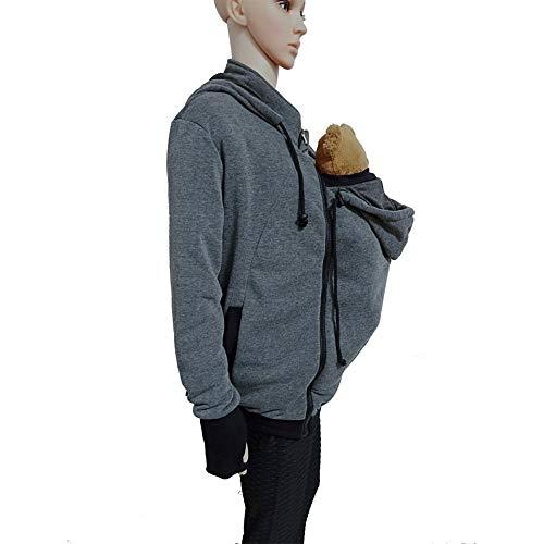 capucha con Fleece con Chaqueta Men de Kangaroo capucha y abrigo con portabeb y Aihome de fIBSxB
