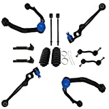 Detroit Axle - 12PC Front Upper and Lower Control Arms w/Sway Bars, Inner Outer Tie Rods and Rack Boots for 1993 1994 1995 1996 1997 1998 Lincoln Mark VIII