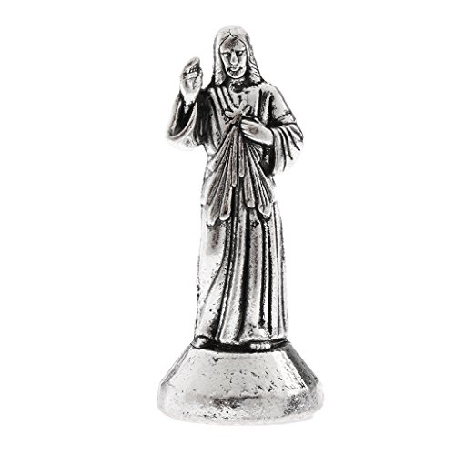 Homyl Jesus Christ Statue Figurine Miniature Holy Religious with Magnetic Bottom for House Chapel Car Decoration 1.96inch Silver