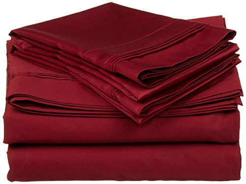 (400 Thread Count 4 Piece Set Queen Size Sheets Set Burgundy Long Staple Combed Pure Natural 100% Cotton Sheet Set deep Pocket fits Upto 15 inch Soft & Silky Sateen Weave Bedding Set)