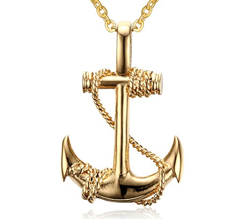 Gold Anchor Necklace (Stainless Steel Anchor Pendant Necklace,Gold,Free Chain)