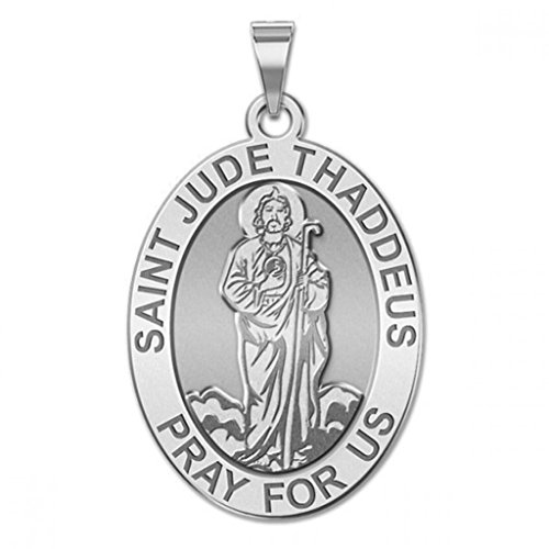 Oval Medal (Full Figure) - 3/4 Inch X 1 Inch -Solid 14K White Gold ()