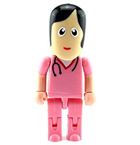 Cartoon Doctor Nurse Shaped Robot USB Flash Drives memory stick thumb (8GB) - PINK