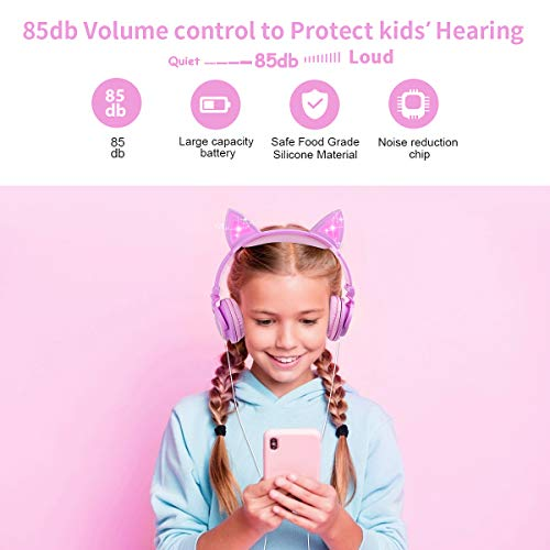 Cat Ear Headphone, LED Light Up Foldable Wired with Adjustable Headband, 85db Over/On Foldable Ear Game Headset Travel Birthday(Purple&Pink)