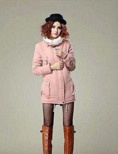 pink Padded Coat TT Simple Polyester Sleeves Casual Women's blushing Long Long Solid Daily amp;SHANGYI Polyester tqtwApI6