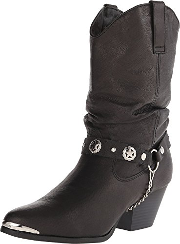 Ladies' Dingo® Pigskin Slouch Harness Boot, BLACK, 5