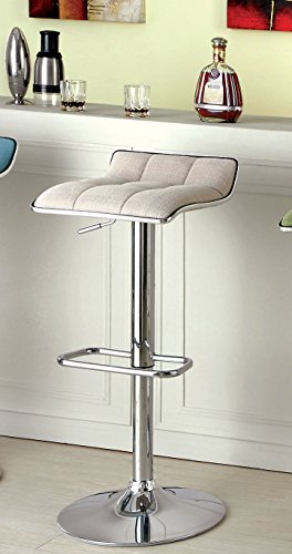 Furniture of America Sheffield Contemporary Swivel Bar Stool, Ivory