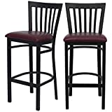 Modern Style Dining Bar Stools Pub Lounge Diner Restaurant Commercial Seats Vertical School House Back Design Black Powder Coated Frame Home Office Furniture - Set of 4 Burgundy Vinyl Seat #2232