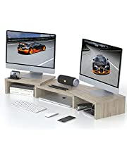 OTK Dual Monitor Stand Riser, Adjustable Length and Angle Screen Stand, Multifunctional Desktop Stand Storage Organizer for Laptop Computer, PC, and Printer, Cream Gray