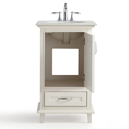 Simpli Home Axcvarw 20 Ariana 20 Inch Bath Vanity With Bombay White Quartz Marble Top Soft White
