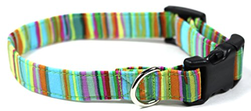 Clover Stripe (Happy Clover Green Stripes Dog Collar, Designer Cotton Dog Collar, Adjustable Handmade Fabric Collars (S - 3/4