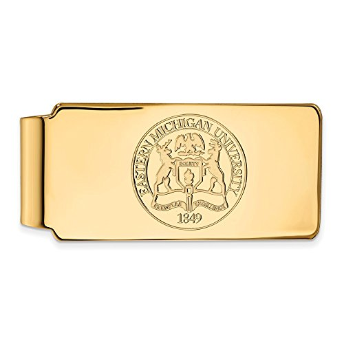 Collegiate Clip Crest Gold Money Sterling EMU Official 14K Plated University LogoArt w Michigan Licensed Silver Eastern Yellow qZIxw6zZa