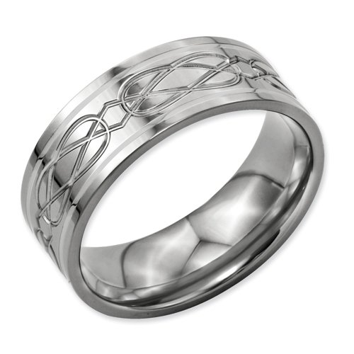 Chisel Titanium Sterling Silver Inlay Celtic Knot Flat 8mm Polished Band Ring TB79