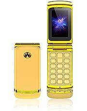 Ulcool F1 Mobiele Telefoon Super Mini Flip Phone 300 mAh Batterij Bluetooth-wijzerplaat Nano Simkaart 2G GSM Mobiele Telefoon voor Studenten (Goud)