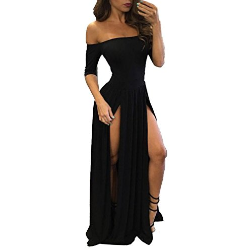 y Dress,Women Strapless Formal Prom Dress Evening Party Ball Gown Bridesmaid Long Dress (Asia Size M, Black) ()