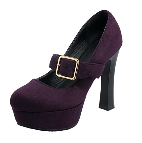 Toe Round Frosted High Purple Closed Women's WeiPoot Solid Heels Shoes Buckle Pumps fnHxIIE