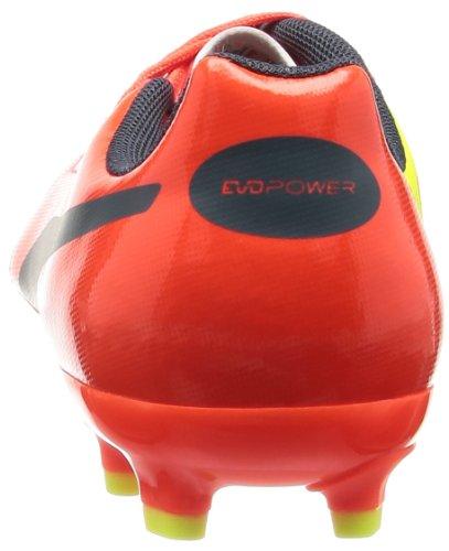 Puma evoPOWER 4 AG Jr - zapatillas de fútbol de material sintético infantil (fluro peach-ombre blue-fluro yellow)
