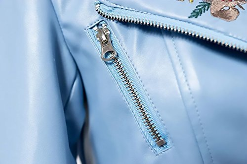 Biker Elegantes Mujer Invierno Jacket Corto Fit Larga Bordados Fashion Solapa Manga Moto Slim Vintage Azul Otoño Con De Cremallera Chaqueta Mujeres Cuero Battercake Casuales Abrigos dEUwqR1d
