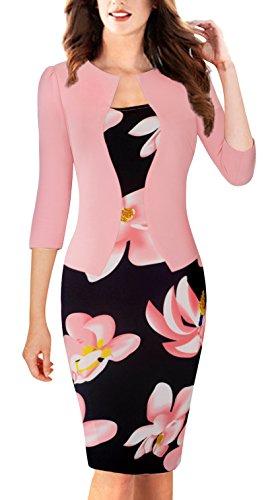 HOMEYEE Women's Vintage Colorblock Business Pencil Dress B237 (XL, Light Pink)